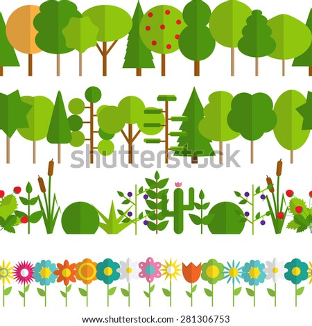 Paper Trendy Flat Trees and Flowers Seamless Pattern Vector Illustration EPS10 - stock vector