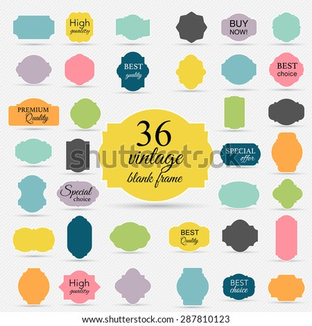 Paper vintage texture collection blank frames and label set. Vector illustration. - stock vector