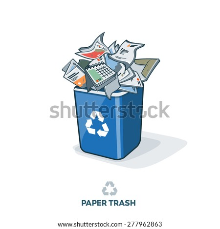 Paper waste in blue recycling bin with disposed paper products such as letters, flyers, brochures, magazines, folders and other. Waste segregation recycling management concept. - stock vector