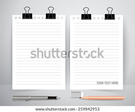 Paper with pen and pencil, Business working elements for web design , mobile applications, social networks. - stock vector