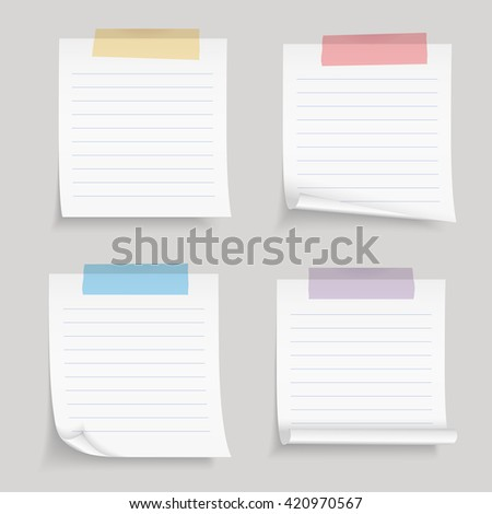 Paper with tape, blank lined paper notes with colored adhesive tape, vector eps10 illustration - stock vector