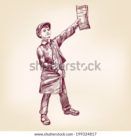 Paperboy selling news papers hand drawn vector llustration realistic sketch - stock vector