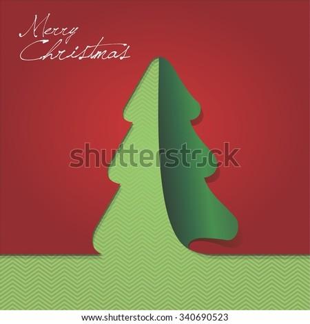 Papercut christmas tree - stock vector