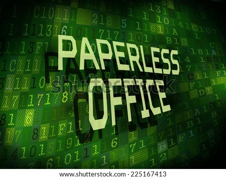 paperless office words isolated on internet digital background  - stock vector