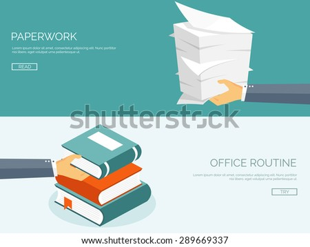 Paperwork. Flat background with paper. Office and emailing. Books and knowledge.Daily routine. - stock vector