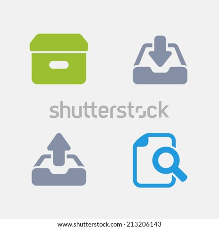 Paperwork Icons. Granite Series. Simple glyph stile icons in 4 versions. The icons are designed at 32x32 pixels. - stock vector
