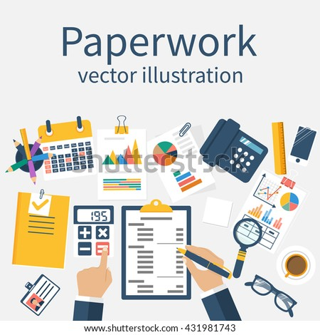 Paperwork, vector. Man at his desk working on paperwork. Office worker. Working office atmosphere. Concept for overworked. Vector illustration, flat design. Work with documents. - stock vector
