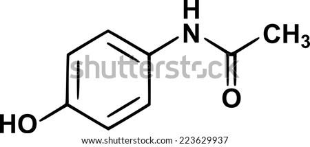 paracetamol (acetaminophen) chemical structural formula  - stock vector