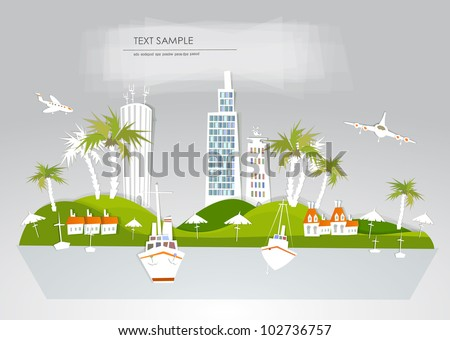 "Paradise hotel travel background ""White city"" collection - stock vector"