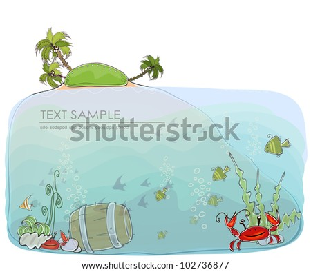"""Paradise island Travel background """"Happy world"""" collection - stock vector"""