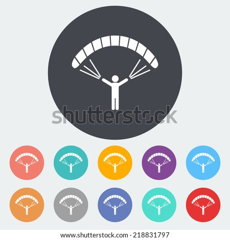 Paraglider. Single flat icon on the circle. Vector illustration. - stock vector