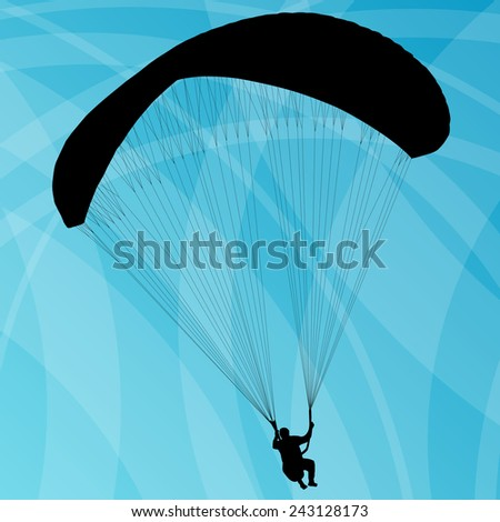 Paragliding active sport sky abstract background vector - stock vector