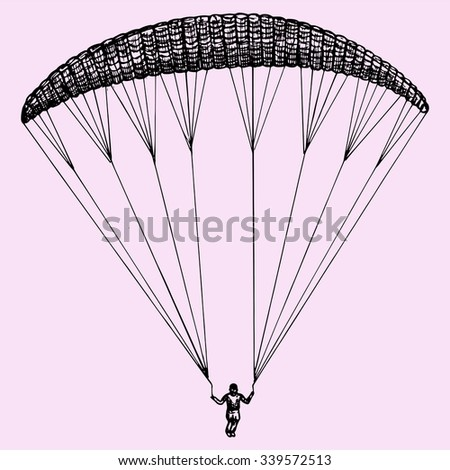 Paragliding, parachute, extreme sport, doodle style, sketch illustration, hand drawn, vector - stock vector