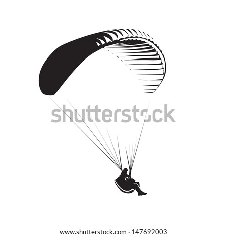 Paragliding theme, parachute controlled by a person - stock vector