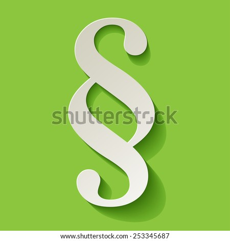 Paragraph symbol paper in the corner on green background - stock vector
