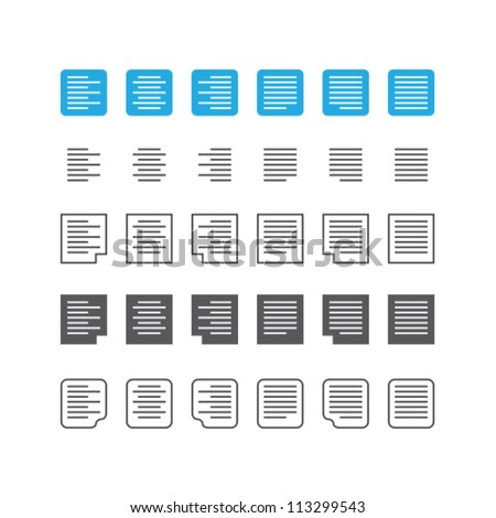 Paragraph text align icon set - stock vector