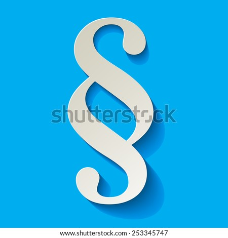 Paragraph white symbol paper on blue background - stock vector