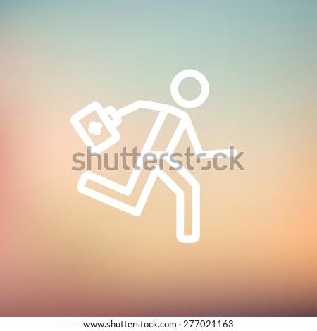 Paramedic running with first aid kit icon thin line for web and mobile, modern minimalistic flat design. Vector white icon on gradient mesh background. - stock vector