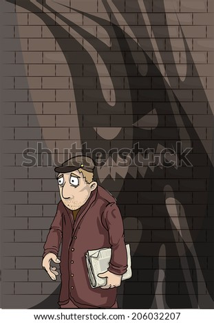Paranoid stressed man, with shadowy problems flowing him, vector illustration - stock vector