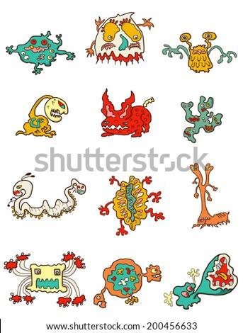 Parasites cartoon - stock vector