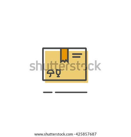 Parcel box icon isolated, closed simple flat parcel package box outline line style - stock vector