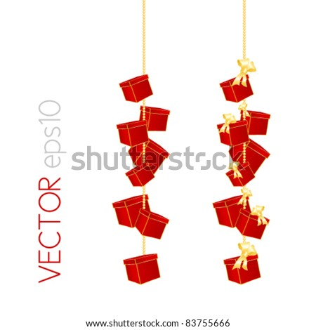 Parcels and gift boxes with bow hanging on a bead chain against white background - Christmas and birthday element - stock vector