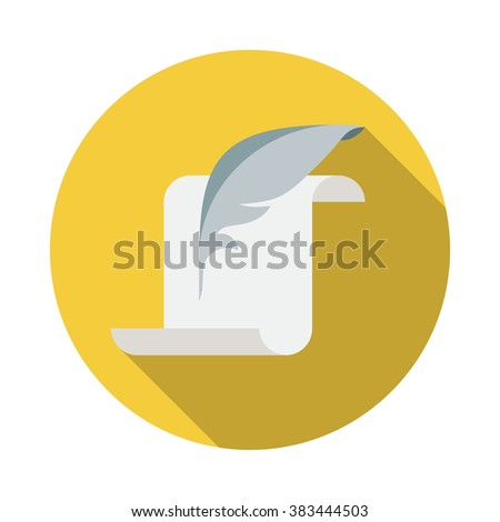 Parchment, quill and ink flat icon. Vector illustration with long shadow. - stock vector