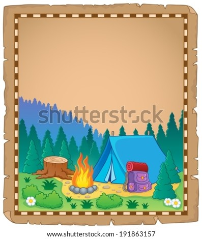 Parchment with campsite theme 1 - eps10 vector illustration. - stock vector