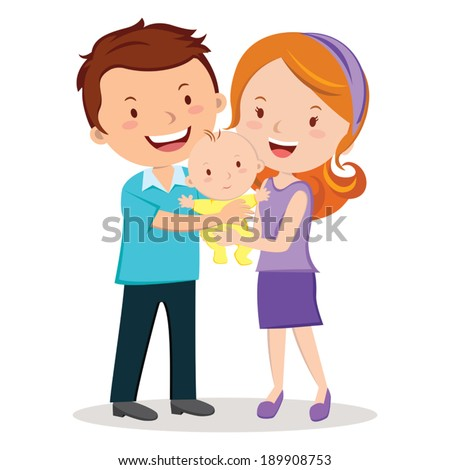 Parent's love. A happy little family of a father and mother holding their adorable baby.  - stock vector