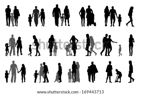 Parents and children Silhouette Vector Illustration - stock vector