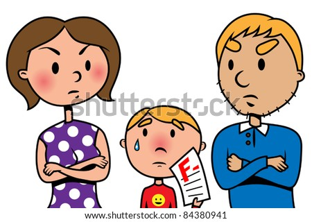 Parents angry at their child because of test fail , vector illustration - stock vector