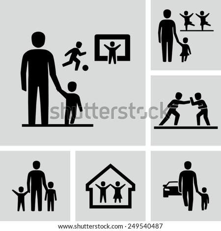 Parents dropping their children off at soccer practice, ballet lessons - stock vector