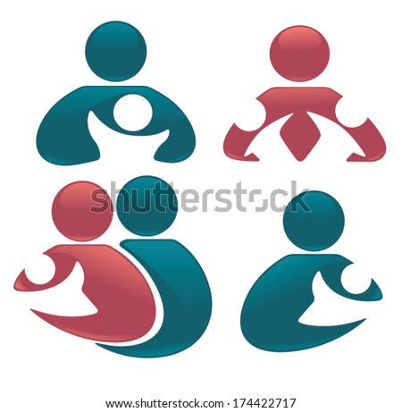 parents love, vector set of people, child, family, and happiness - stock vector