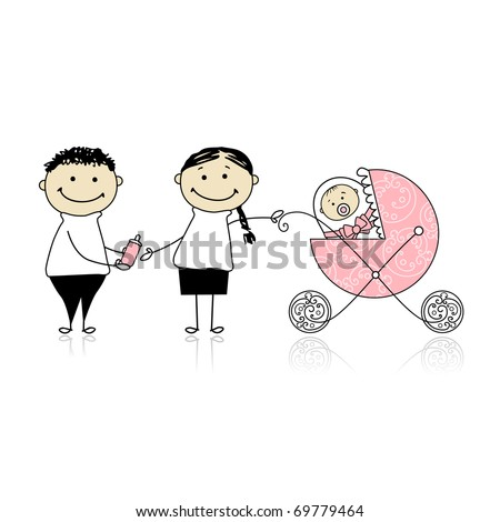 Parents walking with newborn, baby in buggy - stock vector