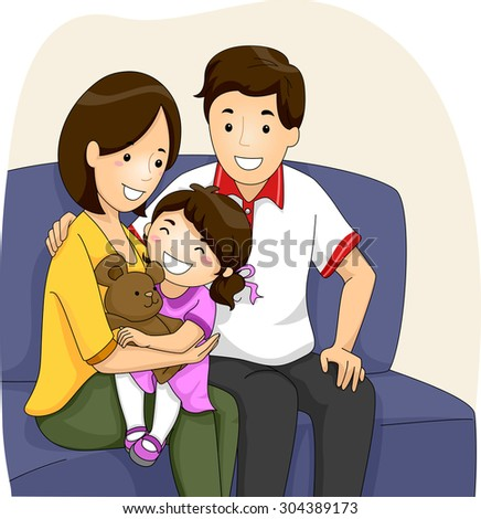 Parents with Daughter sitting on Sofa - stock vector