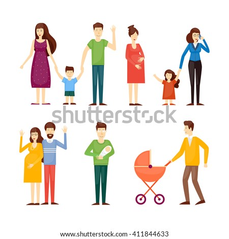 Parents with kids,  happy family, on an isolated background. Flat design vector illustration. - stock vector