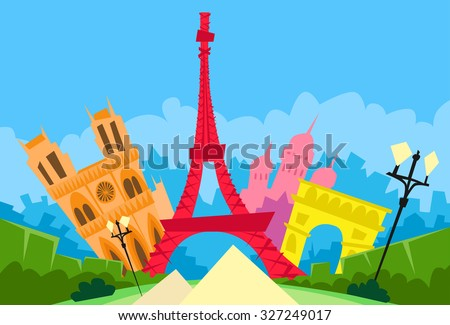Paris Abstract City Silhouette Flat Colorful Vector Illustration - stock vector