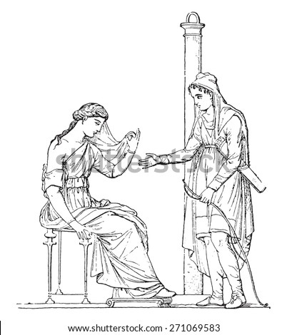 Paris and Helen (after of an ancient painting), vintage engraved illustration.  - stock vector