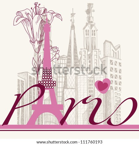 Paris card urban architecture and lily - stock vector