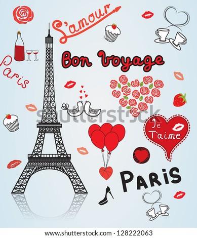 Paris - city of love. - stock vector