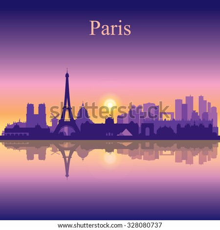 Paris city skyline silhouette background, vector illustration - stock vector