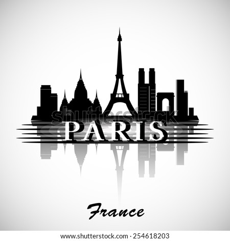 Paris City skyline with reflection. Typographic Design - stock vector