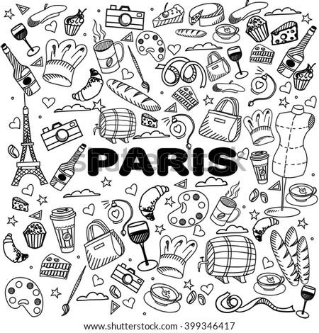 Paris coloring book line art design vector illustration. Separate objects. Hand drawn doodle design elements. - stock vector