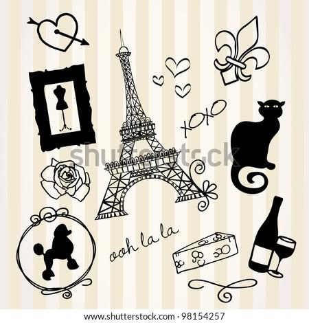 Paris Doodles - stock vector