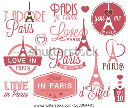 Paris - Eiffel Tower Badges and Labels in Vintage Style - stock vector