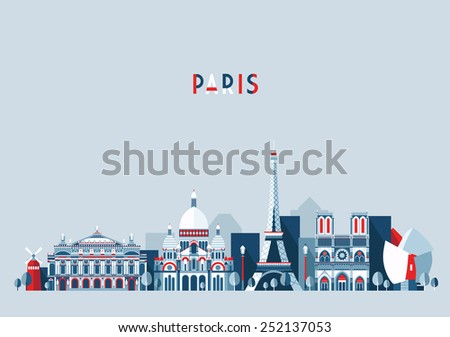 Paris (France) city skyline vector background. Flat trendy illustration. - stock vector