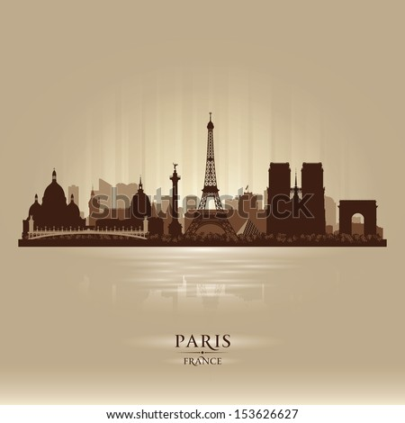 Paris France city skyline vector silhouette illustration - stock vector