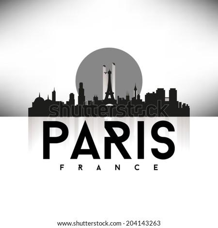 Paris France Skyline Silhouette design, vector illustration, Black. - stock vector