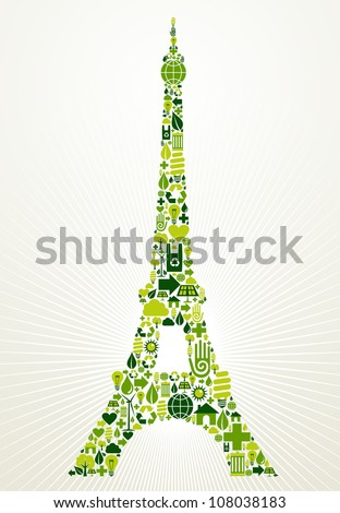 Paris go green. Eco friendly icon set in Eiffel Tower shape illustration background. Vector file layered for easy manipulation and custom coloring. - stock vector