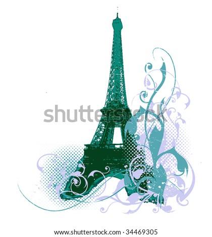Paris grunge background - stock vector